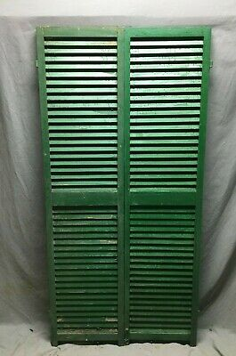 Pair Vtg House Window Wood Louvered Shutters 17X70 Shabby Old Chic Green 489-20B