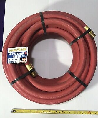 "Good Year 50' x 1/2"" Air Hose Rubber Red 50' Compressed Air 12709"