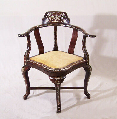 Antique Malaysian rosewood corner chair inlaid with mother of pearl c1875 w seat