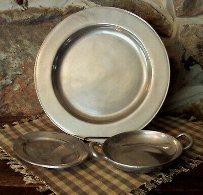 3 pc vintage wilton pewter armetale dinner plate oval potato dish & handled bowl