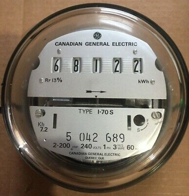 Ge- Electric Watthour Meter (Kwh) - Type I-70S, Ez Read, 240V, 200A Canada Made