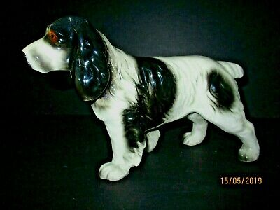 Vintage English Springer Spaniel Ceramic Figurine Black and White