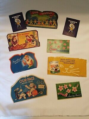 Vintage Old Sewing Needle Books Lot of 9