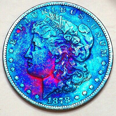 1878 8TF Rev79 RAINBOW TONED MORGAN SILVER DOLLAR 90% SILVER $1 COIN US #SH85