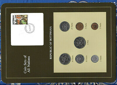 Coin Sets of All Nations Botswana 1981 & 1984 UNC Cow Stamp-8JAN87