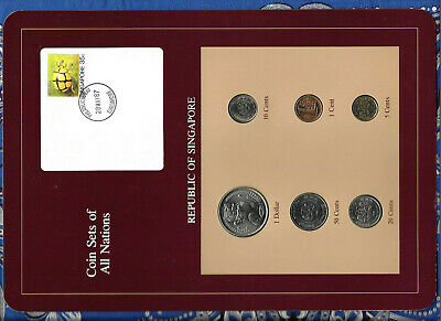 Coin Sets of All Nations Singapore 1982-1988 UNC 5 cents 1988 $1 1982