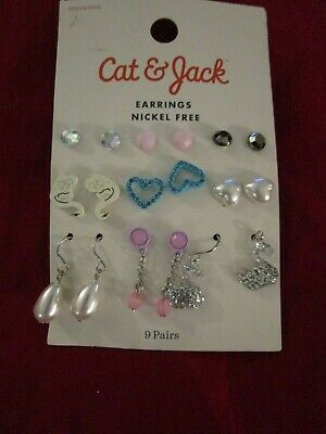 9 Pair Cat & Jack Girls Stud Nickel Free Earrings Swan Hearts Dangles