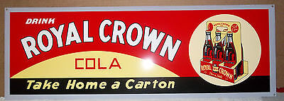 Beautiful Royal Crown Cola 6-Pack Sign. Heavy Sign, Great Colors & Shine