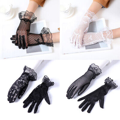 Women Summer Gloves Sunscreen Driving Wedding Mesh Lace Embroidered Lady Anti UV