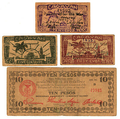 4 different MINDANAO Emergency Currency Board Philippines guerrilla money notes