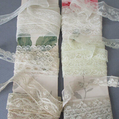 Lot 6 Vintage Slender French VALENCIENNES LACE Trim + Insertion 12+ Yds ~ DOLLS
