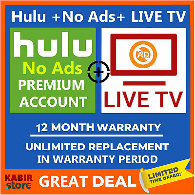 Hulu Premium LIVE TV + No Ads ✅Pandora Gift ✅1 Year Warranty ✅ Fast Delivery