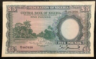 Five Pounds Banknote, Central Bank of Nigeria, 1958