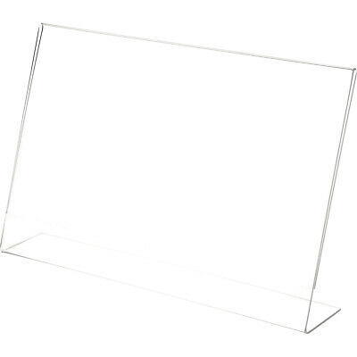 "Plymor Clear Acrylic Sign Display / Literature Holder (Angled), 17"" W x 11"" H"