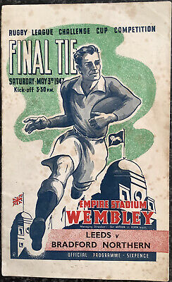 Rugby League Challenge Cup Final Tie Programme Leeds V Bradford 1947