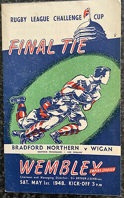Rugby League Challenge Cup Final Tie Programme Bradford V Wigan 1948