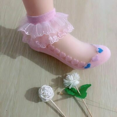 5 pair Girls Baby Toddler Kids Frilly Lace Trim Ankle School Party Wedding Socks
