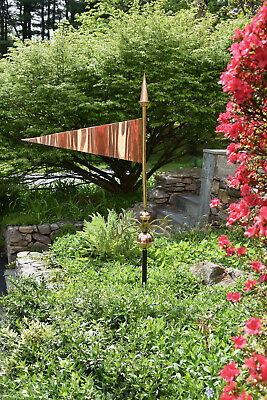 """Large Pennant Weathervane - 27"""" long- pure Copper with solid Cast Brass N-S-E-W"""