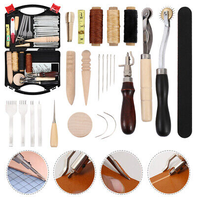Leather Craft Hand Tools Kit Stitching Sewing Stamping Punch Carve Work00