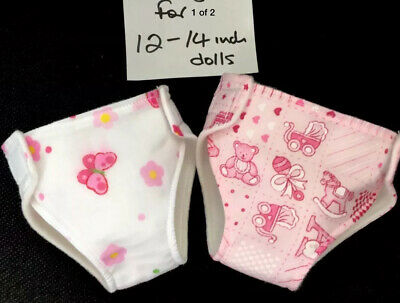 """2 New Dolls Nappies Fits 1st Baby Born Baby Alive Dolls Clothes 12-14""""/30-36cm"""