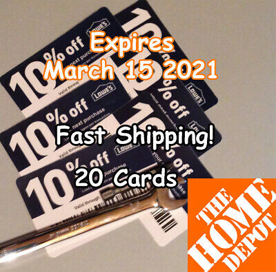 (20) Lowes 10% Off for Home Depot only - Expires March 15 2021