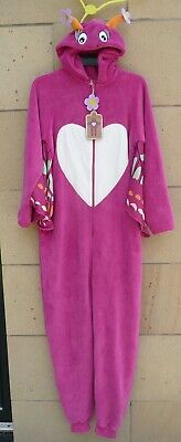 Primark Love To Lounge Pink Hooded All-in-One Butterfly Fleece  Size M UK10-12