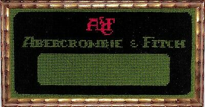 Abercrombie & Fitch c1960s Needlepoint Logo Sign In Gilt Bamboo Frame