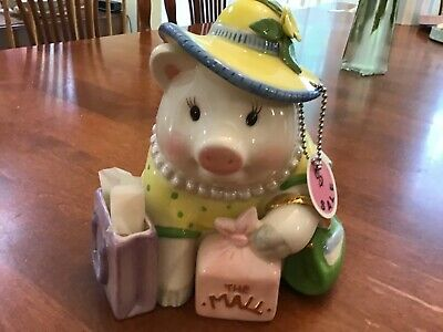 Vintage Mud Pie Piggy Bank Large Shopping Mall Bags Dress Up Hat Pearl Necklace
