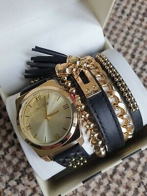 Jessica Carlyle Watch And Bracelets Set. Golden And Black. Brand New. RRP $26