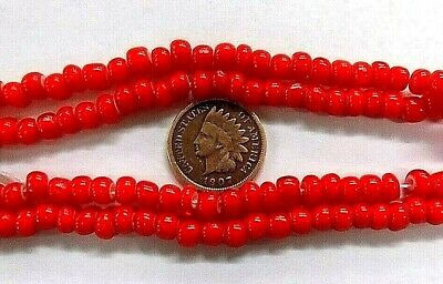 """White Heart Trade Beads Red Strand 19""""  L813 antique vintage style"""