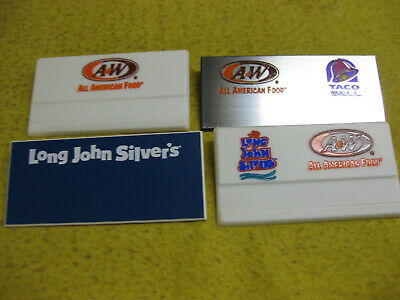 TACO BELL, A&W, LONG JOHN SILVERS Uniform employee Name badges Tags (4) diff.