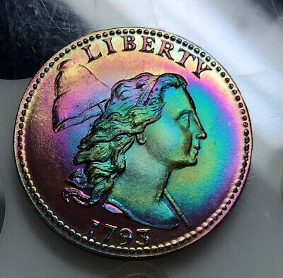 1793 Liberty Large Cent Token Copy Monster Rainbow Toned