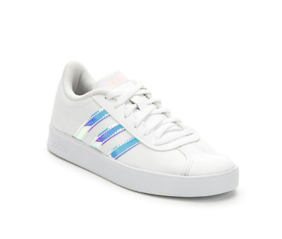 Adidas Kids' VL Court 2.0 Sneaker, White/Clear Orange