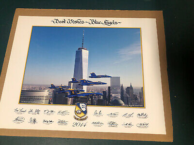 """2014 US NAVY BLUE ANGELS """"one World Trade"""" 11 X 14 LITHO Authentic NEW"""