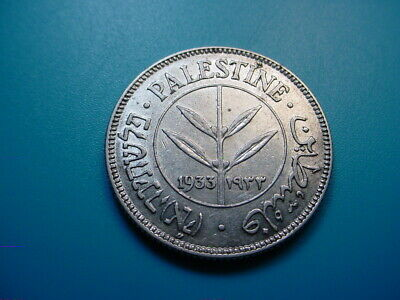 Palestine ~ Scarce Date 1933 Silver 50-Mils in EF+ Condition!