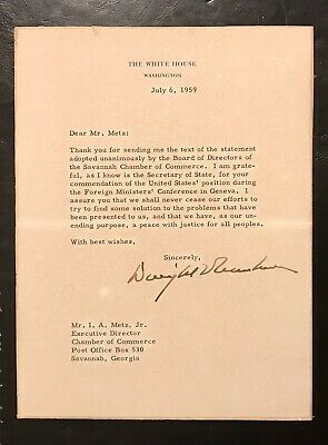 Pres. Dwight D. Eisenhower Signed Autographed White House Document!