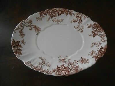 Aesthetic Transferware Small Oval Gravy Under Plate Brown & White