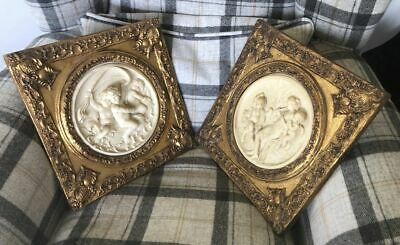 2 x Beautiful Vintage Carved Resin Plaques In Gilt Frames