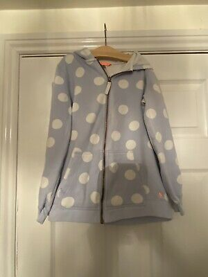 Joules Girls Spotty Zip Up Hooded Jacket Age 11-12 Pale Blue