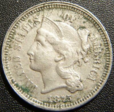 1875 Three Cent Piece - Full LIBERTY, Majority of the Hair, Leaf, and Lines Show