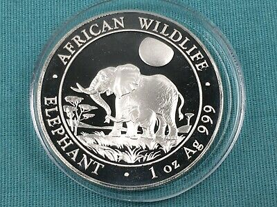 1 oz Silver 2011 Somali Republic African Elephant BU Coin Better Early Date