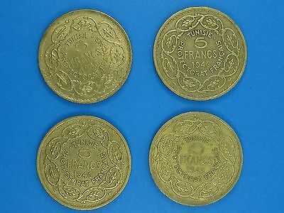 RARE LOT of 4 TUNISIA 1946 FIVE 5 FRANCS COIN TUNISIE PROTECTORAT FRANÇAIS