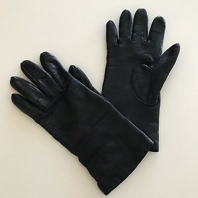 BERGDORF GOODMAN Black Calf Leather Gloves Cashmere Lined Size 7.5 France