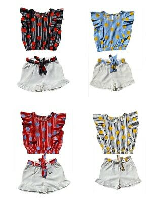 Kids Girls Short Sleeve Set Outfits Summer Top 2 Piece Set Ages 4 to 14 Years