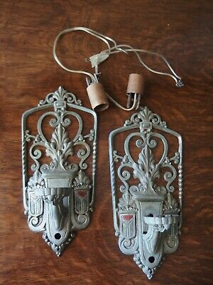 Vintage RIDDLE Deco Silver Red Crest Wall Lamp Light Sconce Rewired Pair VGC