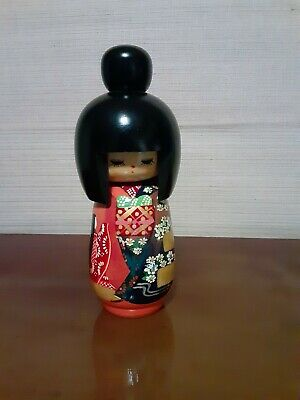 """Vintage """"RARE"""" Japanese Kokeshi Doll """"Signed"""" 8 in"""