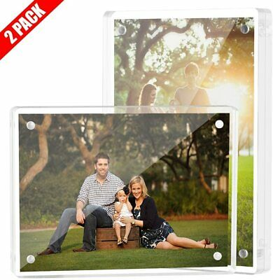 (2-Pack) Clear Acrylic Double-Sided Landscape/Portrait Magnetic Block Frame 4x6″