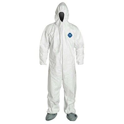 Dupont Tyvek 400 TY122S Coveralls with Hood & Boots, White, Case of 25, 4XL
