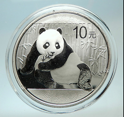 2015 Chinese 10 Yuan 1.00 Troy Ounce Pure Silver Panda Mint Encapsulated