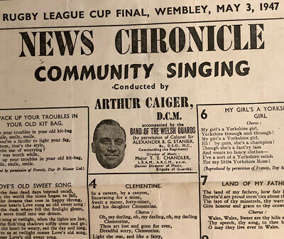 Rugby League Challenge Cup Final Tie Programme/ Song Sheet Leeds V Bradford 1947
